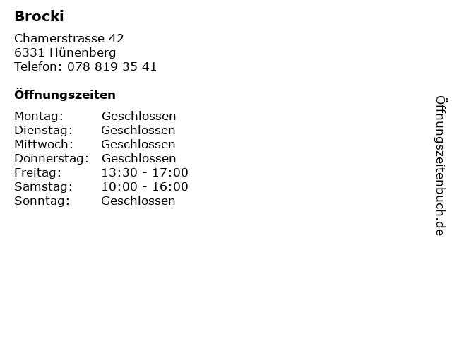 Brocki in Hünenberg: Adresse und Öffnungszeiten