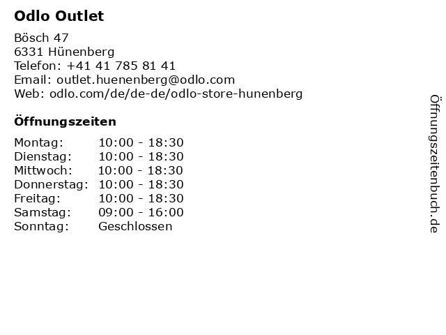 Odlo Outlet in Hünenberg: Adresse und Öffnungszeiten