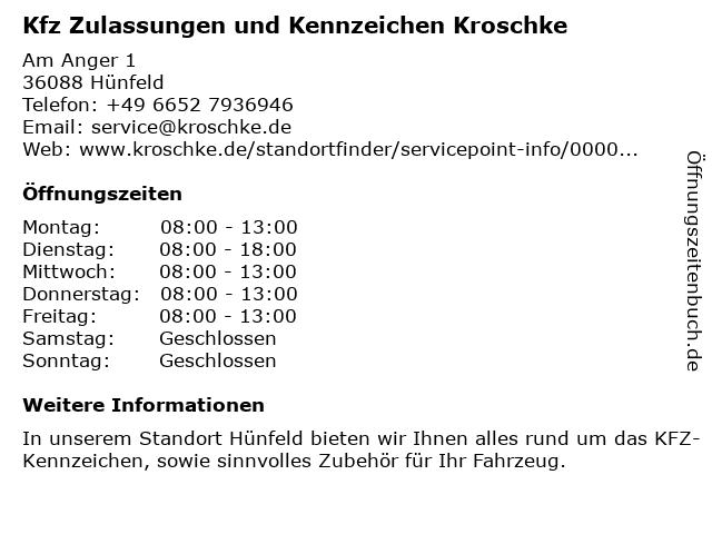 Kfz Zulassungen und Kennzeichen Kroschke in Hünfeld: Adresse und Öffnungszeiten
