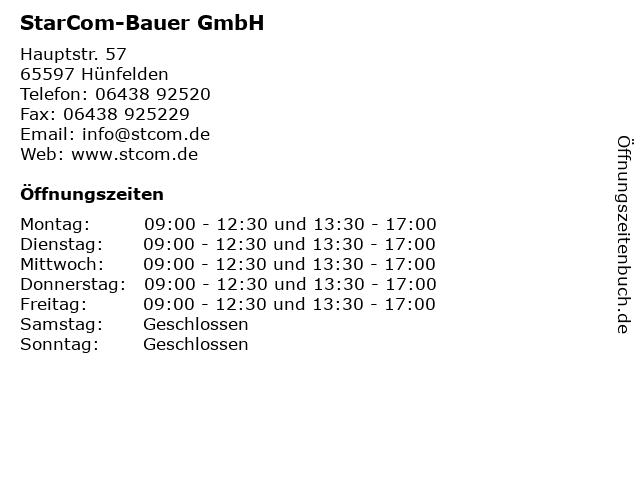 StarCom-Bauer GmbH in Hünfelden: Adresse und Öffnungszeiten
