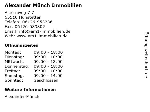 Alexander Münch Immobilien in Hünstetten: Adresse und Öffnungszeiten