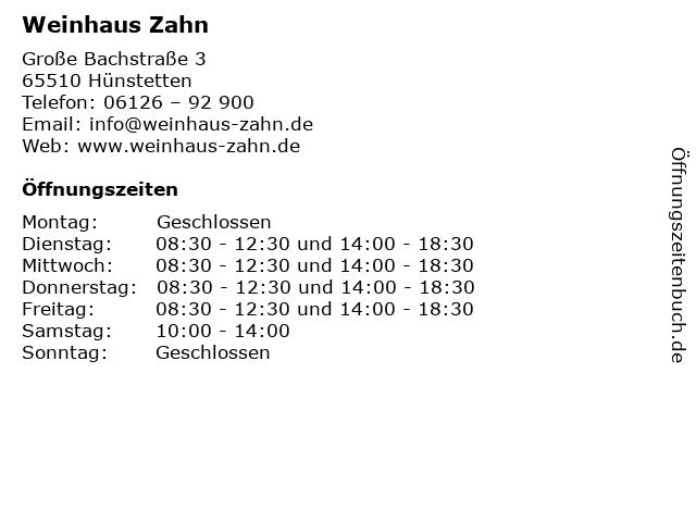 Weinhaus Zahn in Hünstetten: Adresse und Öffnungszeiten