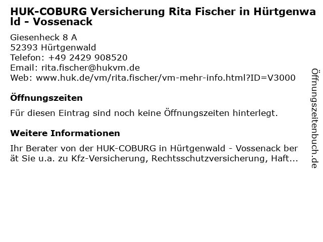 HUK-COBURG Versicherung Rita Fischer in Hürtgenwald - Vossenack in Hürtgenwald: Adresse und Öffnungszeiten