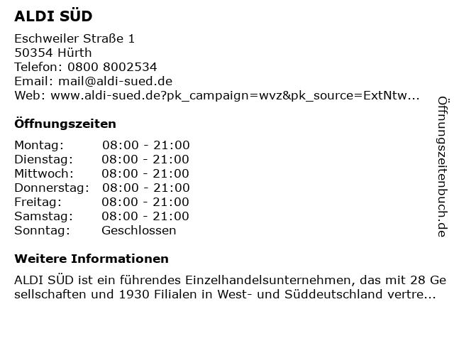 ALDI SÜD in Hürth: Adresse und Öffnungszeiten
