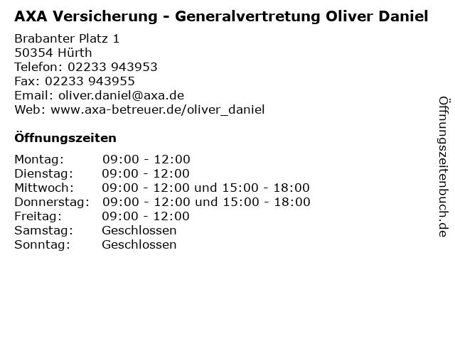 AXA Versicherung - Generalvertretung Oliver Daniel in Hürth: Adresse und Öffnungszeiten