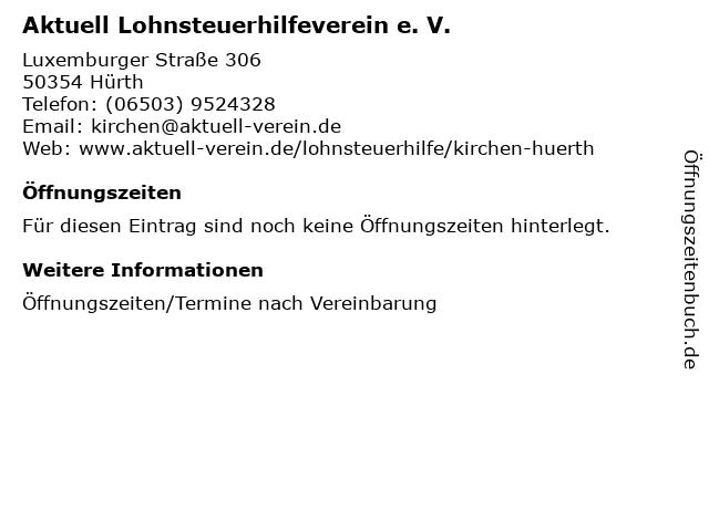 Aktuell Lohnsteuerhilfeverein e. V. in Hürth: Adresse und Öffnungszeiten