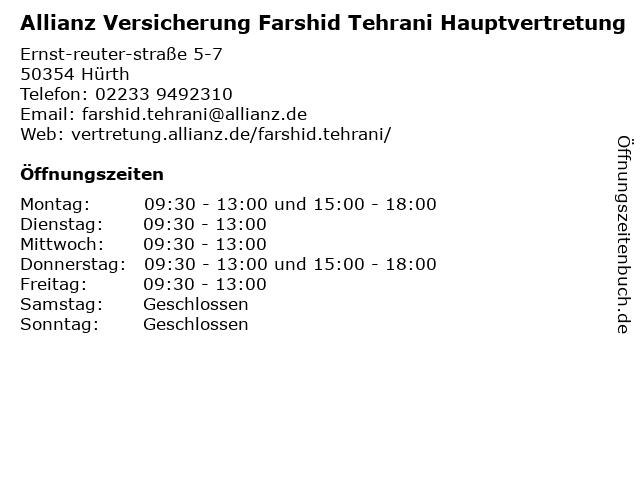Allianz Vertretung Farshid Tehrani in Hürth: Adresse und Öffnungszeiten
