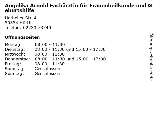 Angelika Arnold Fachärztin für Frauenheilkunde und Geburtshilfe in Hürth: Adresse und Öffnungszeiten