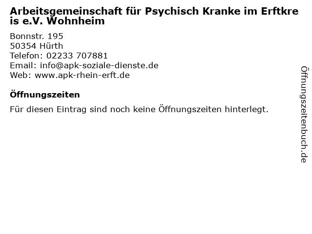 Arbeitsgemeinschaft für Psychisch Kranke im Erftkreis e.V. Wohnheim in Hürth: Adresse und Öffnungszeiten