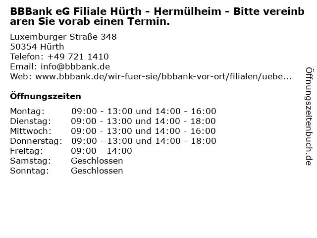 BBBank eG Filiale Hürth - Hermülheim in Hürth: Adresse und Öffnungszeiten