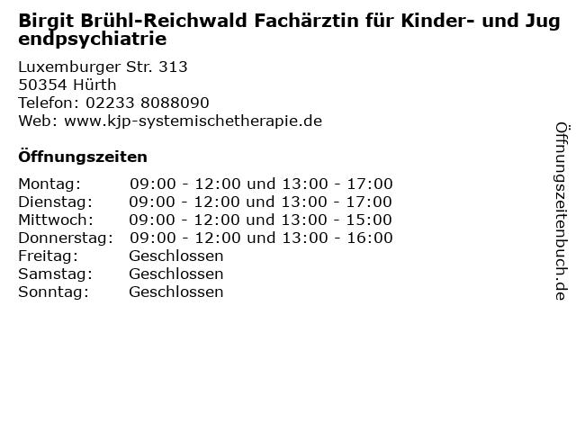 Birgit Brühl-Reichwald Fachärztin für Kinder- und Jugendpsychiatrie in Hürth: Adresse und Öffnungszeiten