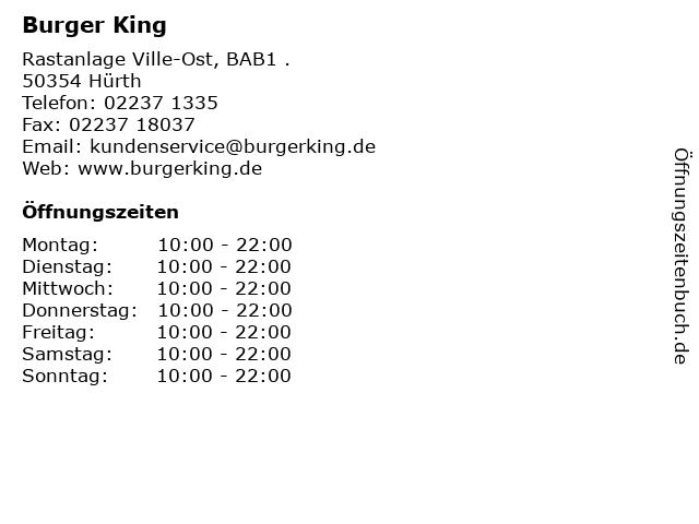 Burger King in Hürth: Adresse und Öffnungszeiten