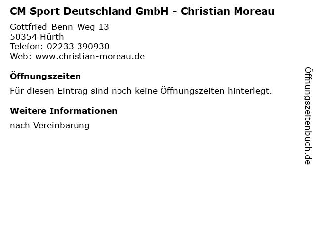 CM Sport Deutschland GmbH - Christian Moreau in Hürth: Adresse und Öffnungszeiten