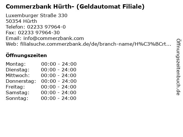 Commerzbank Hürth- (Geldautomat Filiale) in Hürth: Adresse und Öffnungszeiten