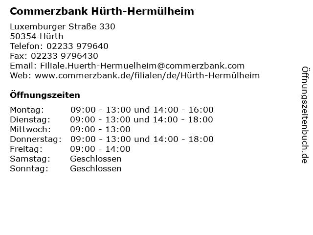 Commerzbank Hürth-Hermülheim in Hürth: Adresse und Öffnungszeiten