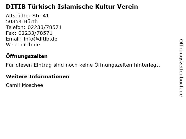 DITIB Türkisch Islamische Kultur Verein in Hürth: Adresse und Öffnungszeiten