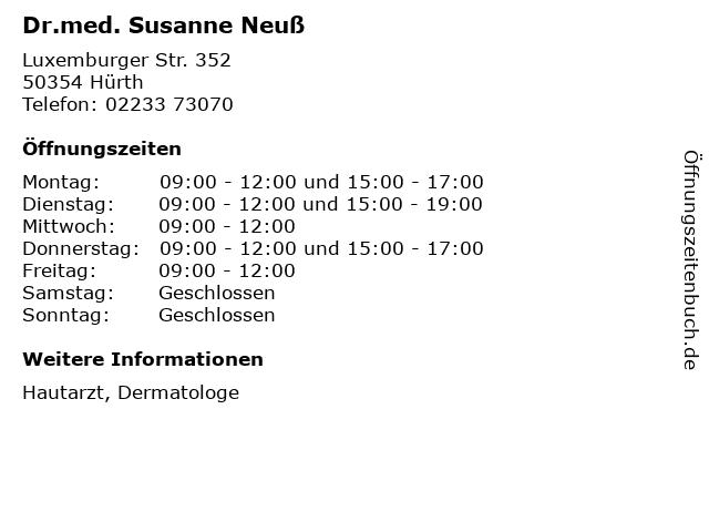 Dr.med. Susanne Neuß in Hürth: Adresse und Öffnungszeiten