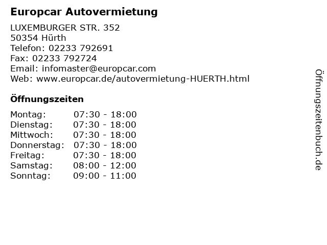 Europcar Autovermietung in Hürth: Adresse und Öffnungszeiten