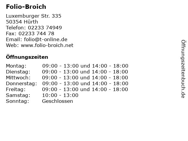 Folio-Broich in Hürth: Adresse und Öffnungszeiten