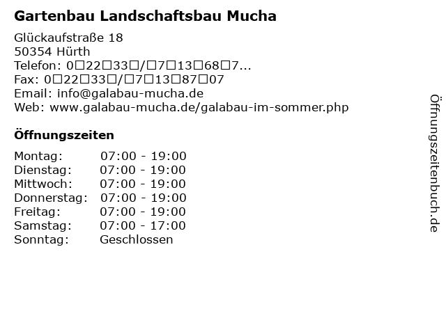 Gartenbau Landschaftsbau Mucha in Hürth: Adresse und Öffnungszeiten