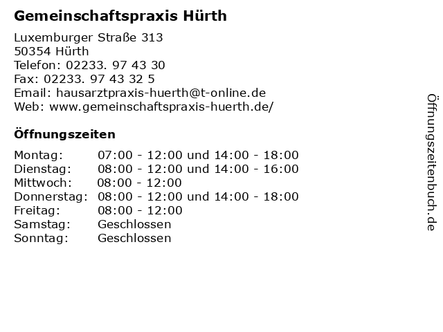 Gemeinschaftspraxis Hürth in Hürth: Adresse und Öffnungszeiten