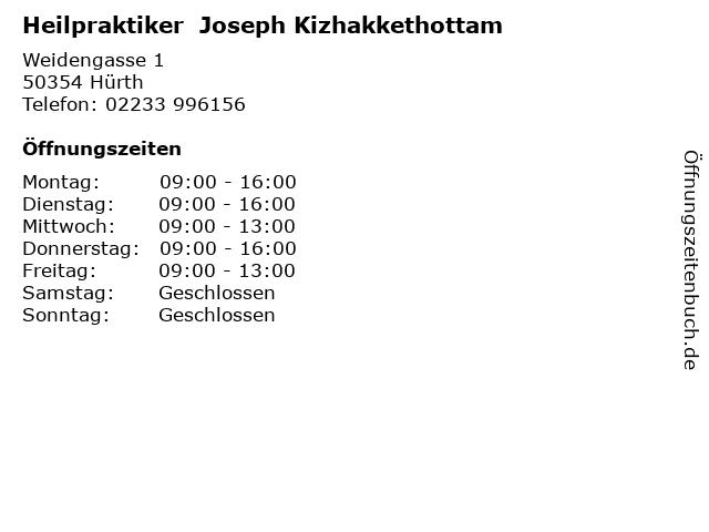 Heilpraktiker  Joseph Kizhakkethottam in Hürth: Adresse und Öffnungszeiten