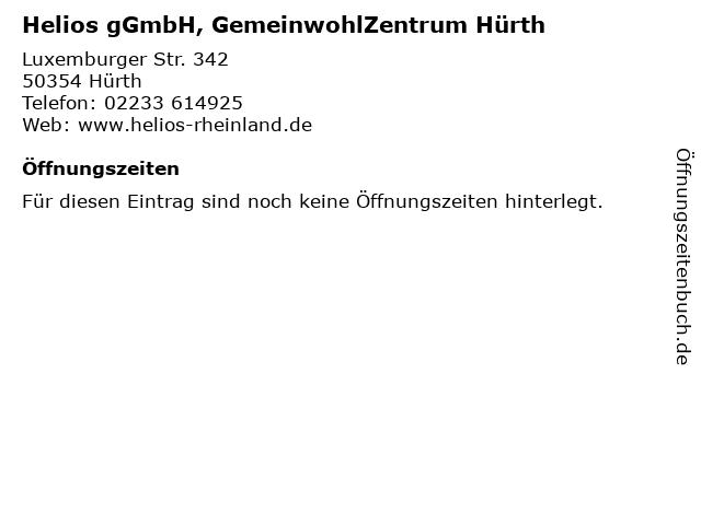 Helios gGmbH, GemeinwohlZentrum Hürth in Hürth: Adresse und Öffnungszeiten