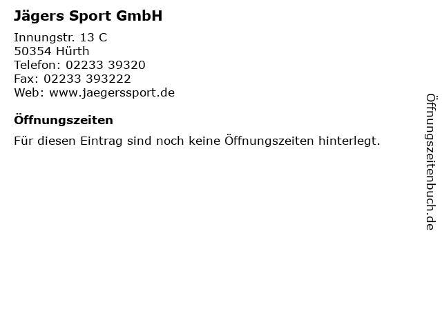 Jägers Sport GmbH in Hürth: Adresse und Öffnungszeiten