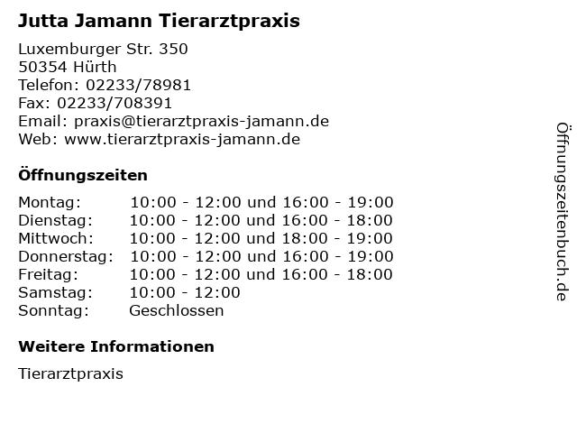 Jutta Jamann Tierarztpraxis in Hürth: Adresse und Öffnungszeiten