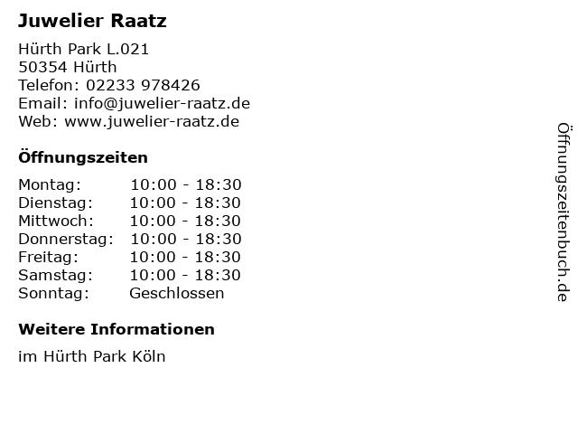 Juwelier Raatz in Hürth: Adresse und Öffnungszeiten