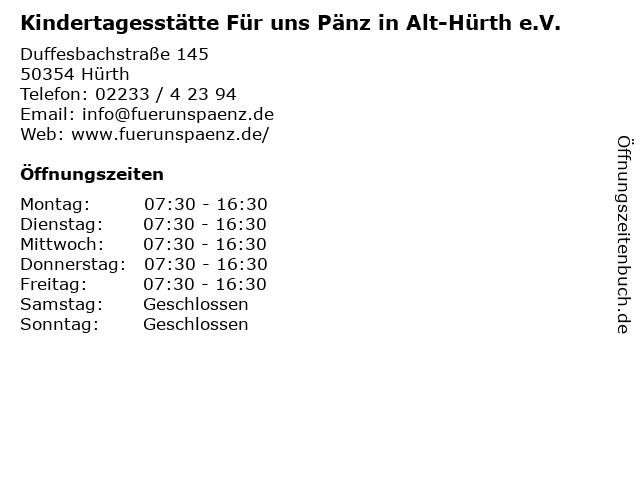 Kindertagesstätte Für uns Pänz in Alt-Hürth e.V. in Hürth: Adresse und Öffnungszeiten