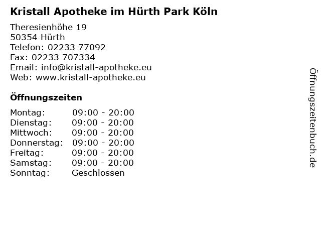 Kristall Apotheke im Hürth Park Köln in Hürth: Adresse und Öffnungszeiten