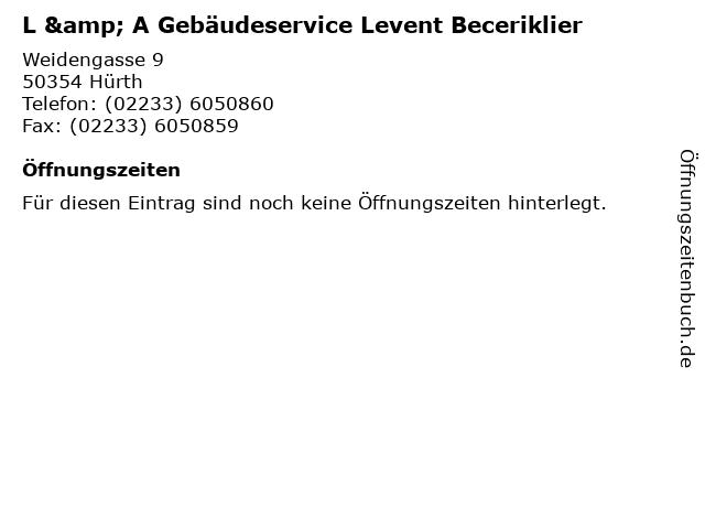 L & A Gebäudeservice Levent Beceriklier in Hürth, Rheinland: Adresse und Öffnungszeiten