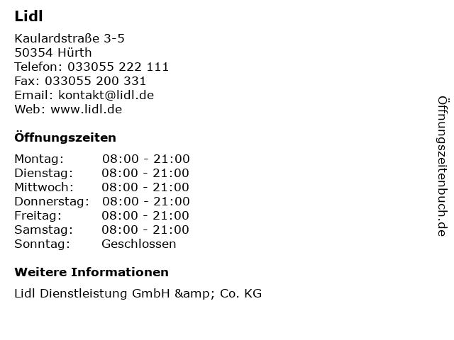 Lidl Dienstleistung GmbH & Co. KG in Hürth: Adresse und Öffnungszeiten
