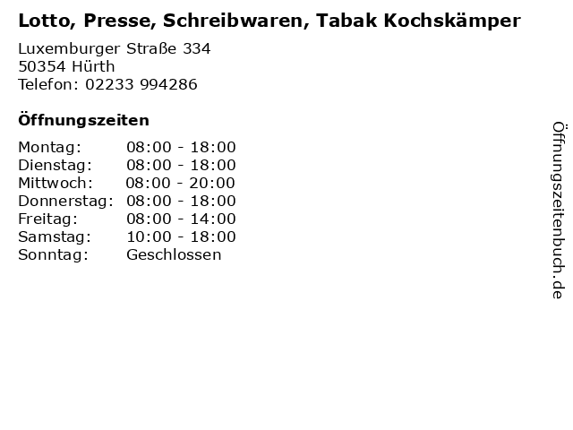 Lotto, Presse, Schreibwaren, Tabak Kochskämper in Hürth: Adresse und Öffnungszeiten
