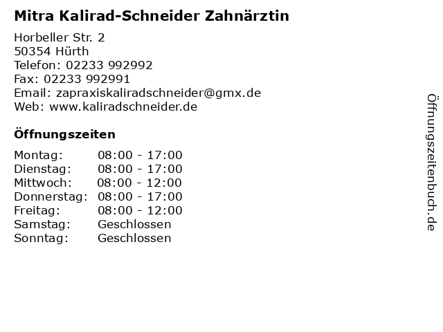 Mitra Kalirad-Schneider Zahnärztin in Hürth: Adresse und Öffnungszeiten