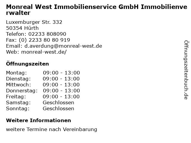 Monreal West Immobilienservice GmbH Immobilienverwalter in Hürth: Adresse und Öffnungszeiten