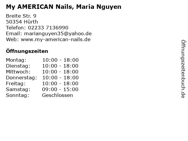 My AMERICAN Nails, Maria Nguyen in Hürth: Adresse und Öffnungszeiten
