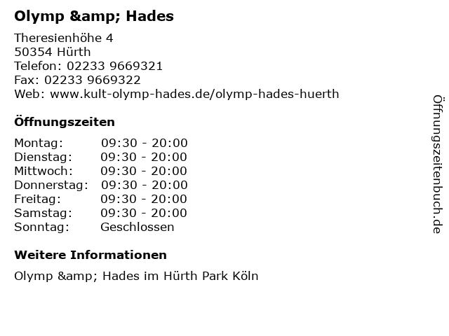 Olymp & Hades in Hürth: Adresse und Öffnungszeiten