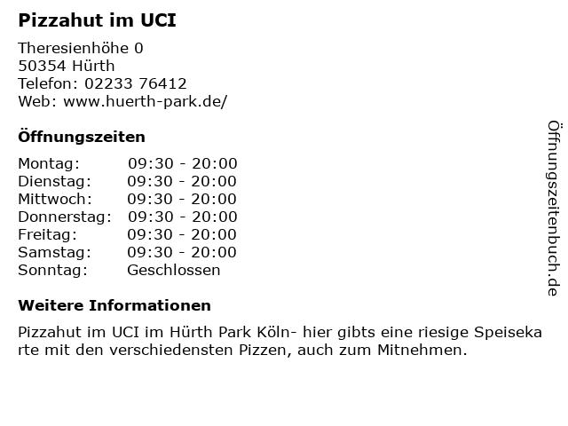 Pizzahut im UCI in Hürth: Adresse und Öffnungszeiten