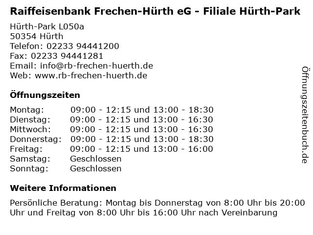 Raiffeisenbank Frechen-Hürth eG - Filiale Hürth-Park in Hürth: Adresse und Öffnungszeiten