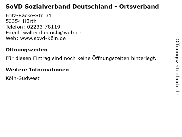 SoVD Sozialverband Deutschland - Ortsverband in Hürth: Adresse und Öffnungszeiten