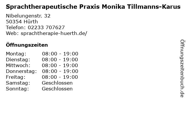 Sprachtherapeutische Praxis Monika Tillmanns-Karus in Hürth: Adresse und Öffnungszeiten