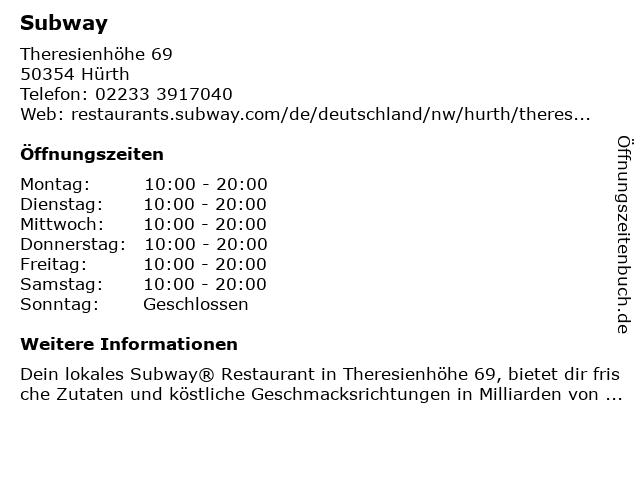 Subway in Hürth: Adresse und Öffnungszeiten