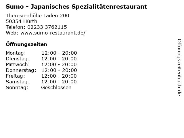 Sumo - Japanisches Spezialitätenrestaurant in Hürth: Adresse und Öffnungszeiten