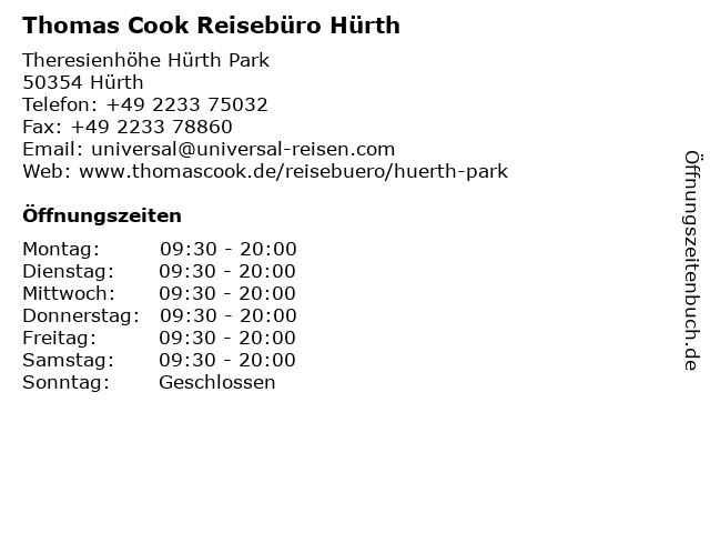 Thomas Cook Reisebüro Hürth in Hürth: Adresse und Öffnungszeiten