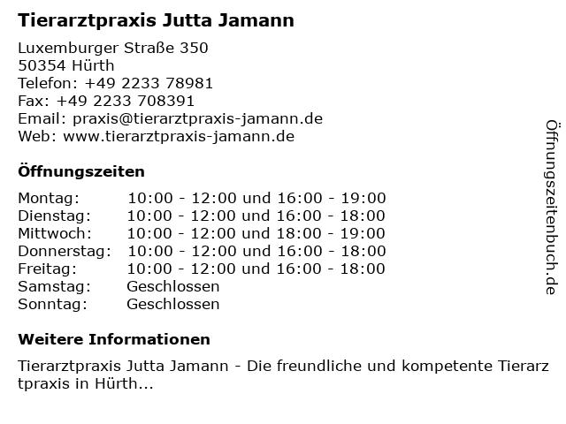 Tierarztpraxis Jutta Jamann in Hürth: Adresse und Öffnungszeiten
