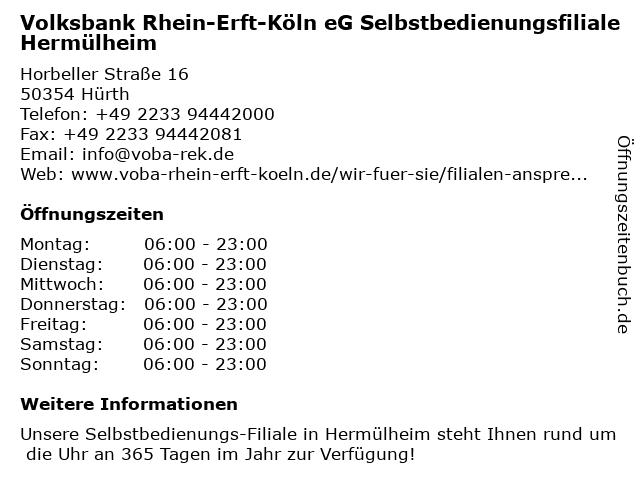 Volksbank Rhein-Erft-Köln eG, Selbstbedienungs-Filiale Hermülheim in Hürth: Adresse und Öffnungszeiten