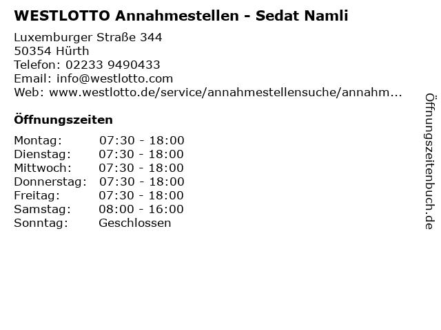 WESTLOTTO Annahmestellen - Sedat Namli in Hürth: Adresse und Öffnungszeiten