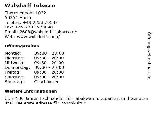 Wolsdorff Tobacco in Hürth: Adresse und Öffnungszeiten